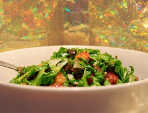 Raw Food - Homemade Romaine and Heirloom Tomato Salad with Fresh Linseed Oil and Honey Lemon Dressing