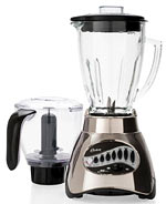 Oster 16 speed low cost high performance blender - durable, attractive, large full glass container. High quality, not too noisy, stable. We love this blender. : )
