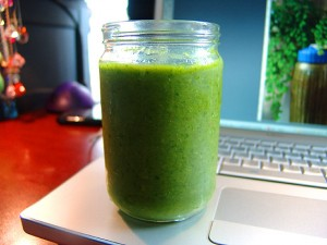 Icy Cold Green Smoothie Shake - A Delicious Whole, Fresh Meal In a Drink - Mango Fruit Veggie Supreme